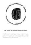 1981 Stanley A. Bauman Photograph Collection Index by Stonehill College Archives